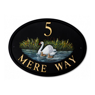 Swan & Cygnets Water Scene House Sign house sign