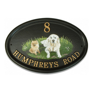 Dogs Flat Painted Dog House Sign house sign