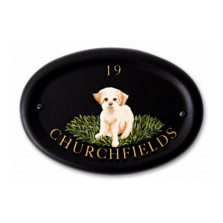 Bichon Frise Flat Painted Dog House Sign house sign