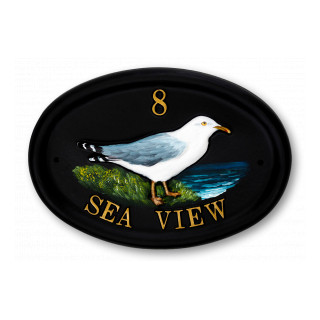 Seagull Standing Water Scene House Sign house sign