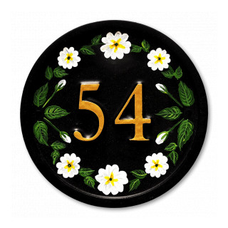White Primroses House Number house sign
