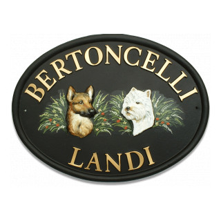 German Shepherd & Westie Head Dog house sign