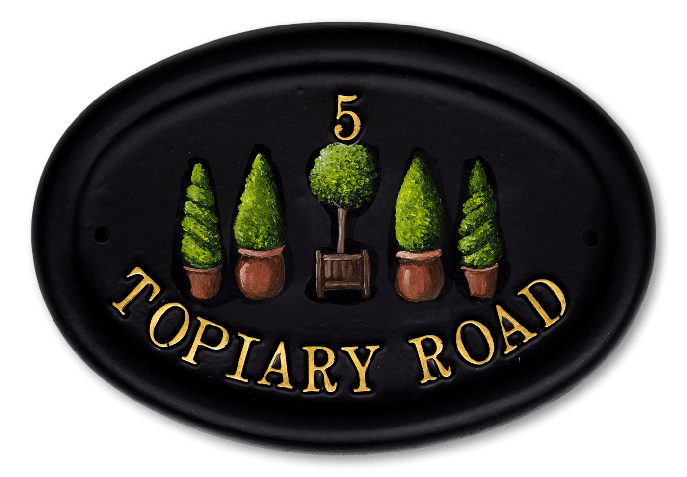 Topiary house sign